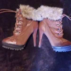 high heeled timbaland style boots